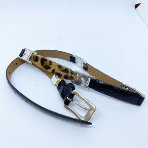 Talbots Cheeta Faux Fur Black Leather Block Belt